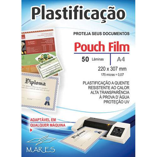 Plastico para Plastificacao Pouch Film A4 220X307 (0,07) Conj/50 Mares