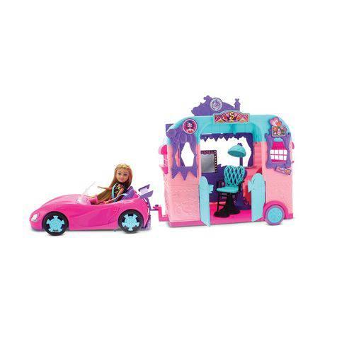Playset com Veículo e Boneca - Sparkle Girlz - Beauty Salon - Dtc