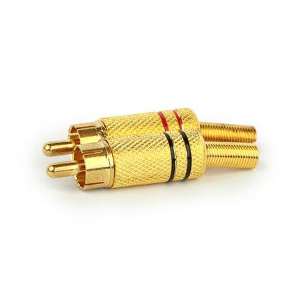 Plug RCA Dourado 4mm Preto Plug RCA Dourado 4mm Vermelho