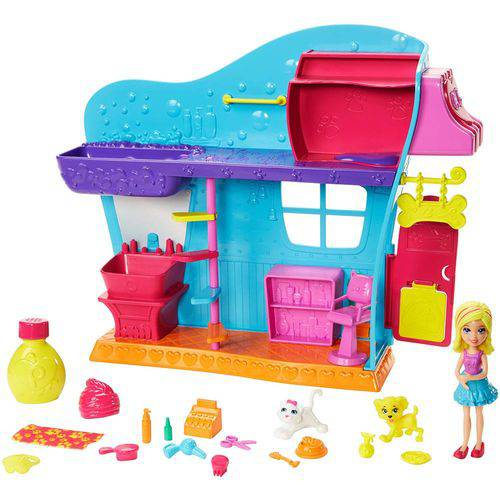 Polly Pocket Salão de Beleza dos Bichinhos Efeito Mechas Coloridas Dhy22 Mattel