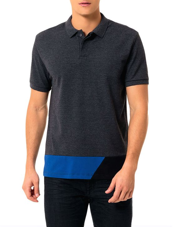 Polo Calvin Klein Jeans Recortes Barra Mescla - P