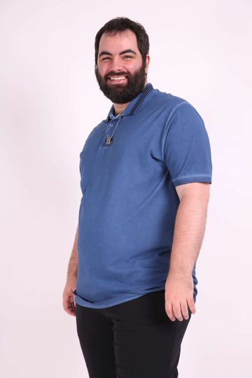 Camisa Polo Estonada Plus Size Azul Marinho P