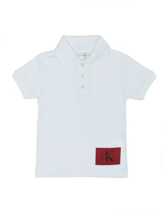 Polo Infantil Calvin Klein Jeans Etiqueta Logo Branco - 10
