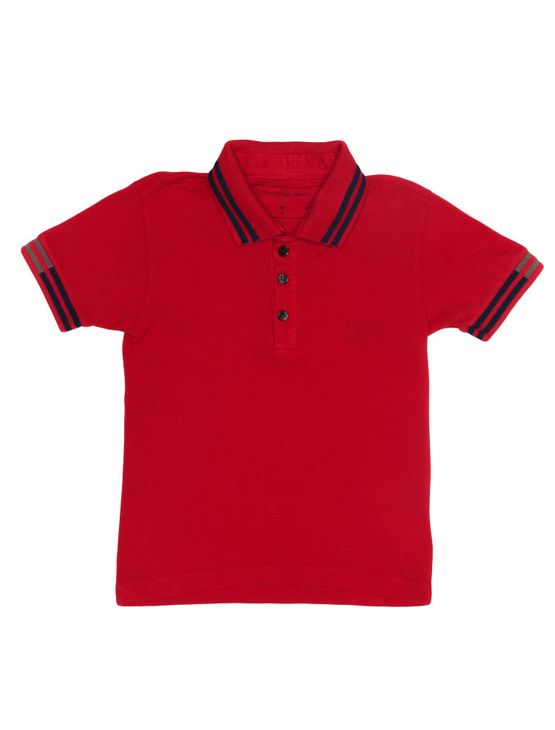 Polo Infantil Calvin Klein Jeans Logo e Listras Vermelho - 2