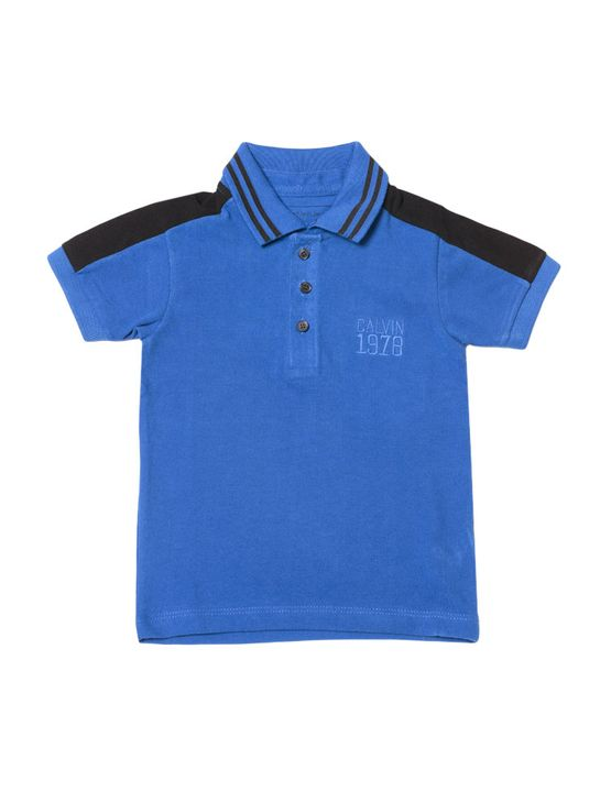 Polo Infantil Calvin Klein Jeans Recorte Ombro e Bordado Azul Carbono - 2