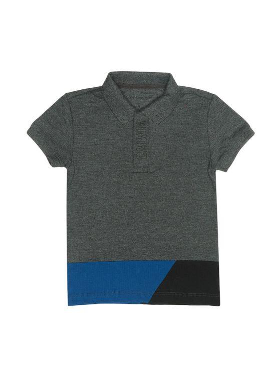 Polo Infantil Calvin Klein Jeans Recortes e Logo Chumbo - 8