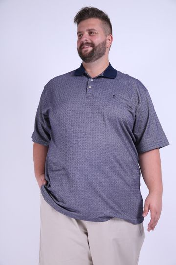 Camisa Polo Jacquard Plus Size Azul GG