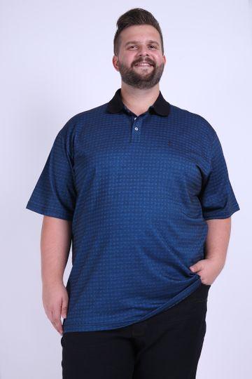 Camisa Polo Jacquard Plus Size Azul Marinho GG