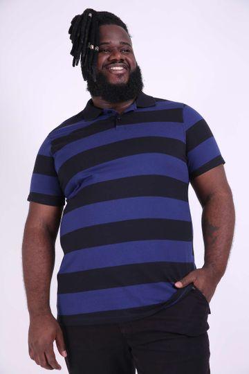 Camisa Polo Listrada Plus Size Azul EX