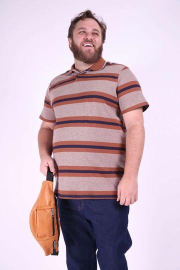 Polo Listrada Plus Size Azul Marinho EX
