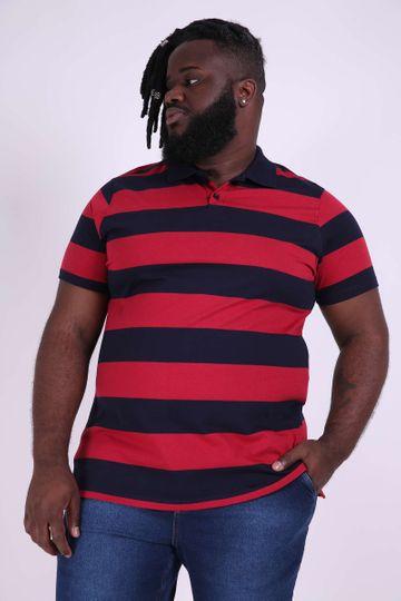 Camisa Polo Listrada Plus Size Vermelho EX