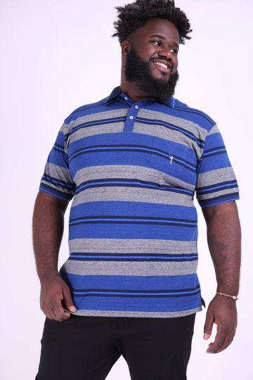 Polo Masculina Listrada Plus Size Azul M