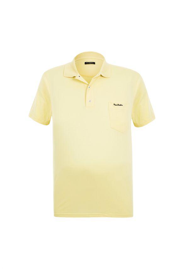 Polo Plus Size Meia Malha Amarela com Bolso 6