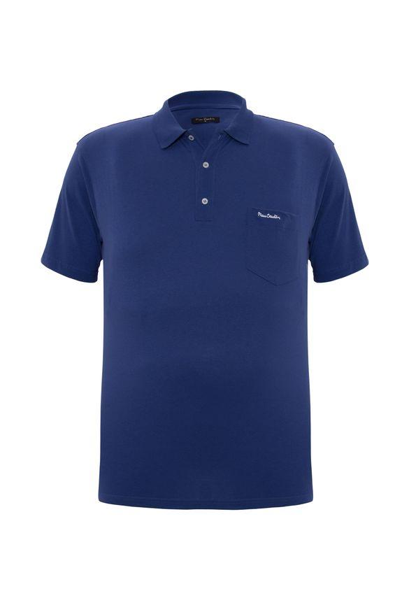 Polo Plus Size Meia Malha Azul com Bolso 7