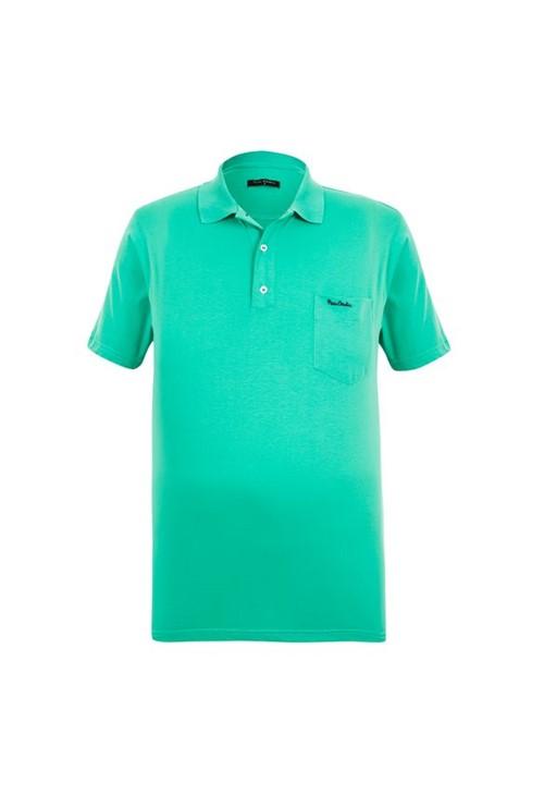 Polo Plus Size Meia Malha Verde Àgua com Bolso 8
