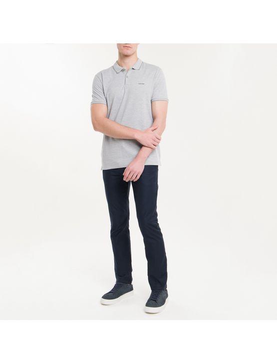 Polo Slim Básica Calvin Klein Relevo - Cinza Mescla - PP