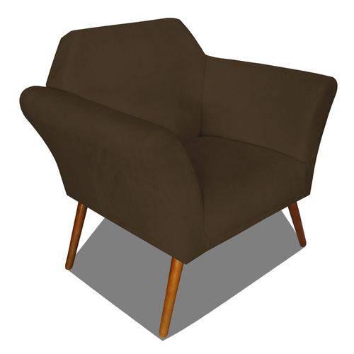 Poltrona Cadeira Anitta Sala Quarto Recepção Escritório Consultório Corino Marrom - AM DECOR