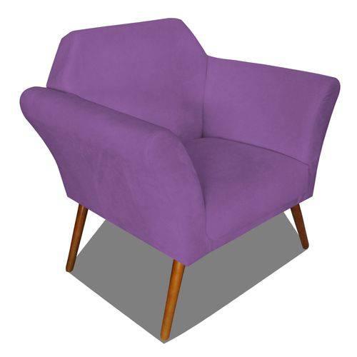 Poltrona Cadeira Anitta Sala Quarto Recepção Escritório Consultório Suede Roxo - AM DECOR