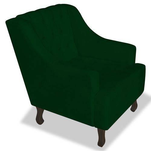 Poltrona Cadeira Dante Luiz Xv para Sala Escritório Recepção Suede Verde - AM DECOR