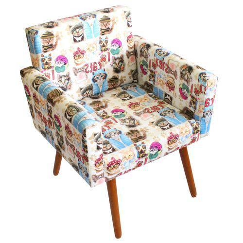 Poltrona Cadeira Decorativa Beatriz Recepção Sala de Jogos Quarto Estampa Gatinho Cats - AM DECOR