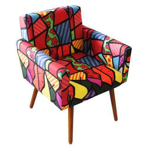 Poltrona Cadeira Decorativa Beatriz Recepção Sala Consultório Suede Estampa Romero Brito - AM DECOR