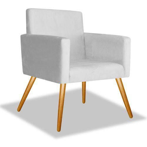 Poltrona Cadeira Decorativa Beatriz Sala Quarto Escritório Recepção Suede Branco Neve - AM DECOR