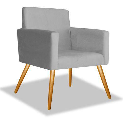 Poltrona Cadeira Decorativa Beatriz Sala Quarto Escritório Recepção Corino Cinza - AM DECOR