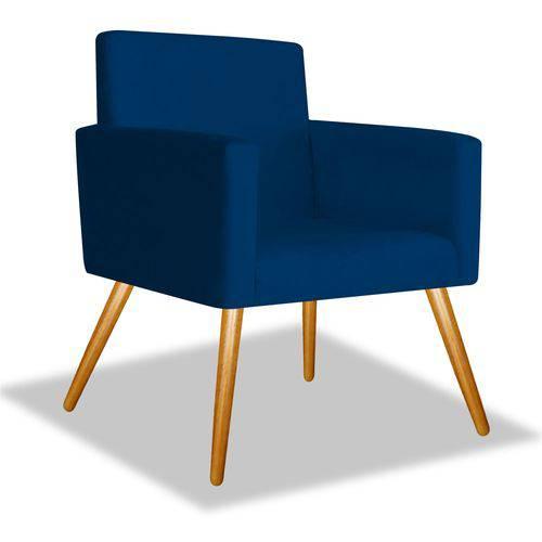 Poltrona Cadeira Decorativa Beatriz Sala Quarto Escritório Recepção Suede Azul Marinho - AM DECOR