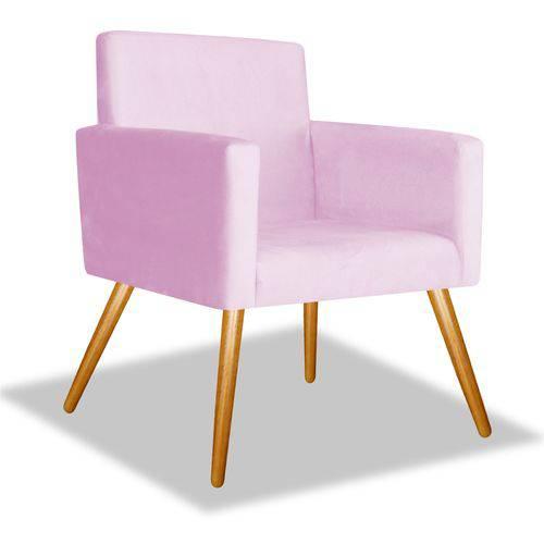 Poltrona Cadeira Decorativa Beatriz Sala Quarto Escritório Recepção Suede Rosa Bebê - AM DECOR