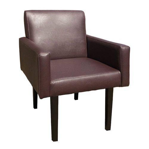 Poltrona Cadeira Decorativa Lais Sala Escritório Corino Marrom