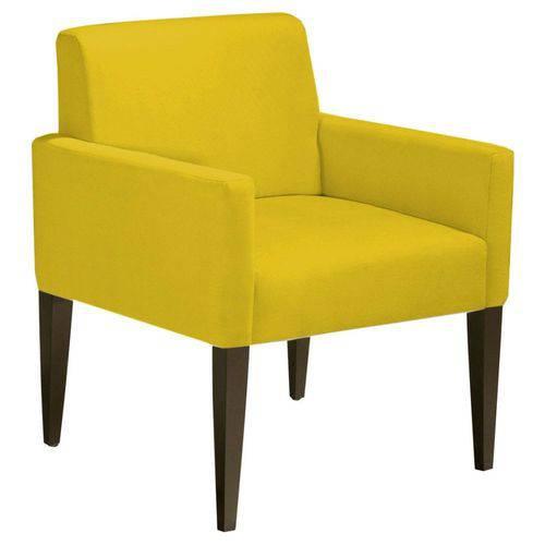 Poltrona Cadeira Decorativa Lais Sala Escritório Suede Amarelo
