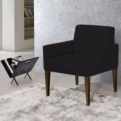 Poltrona Cadeira Decorativa Lais Sala Escritório Suede Preto