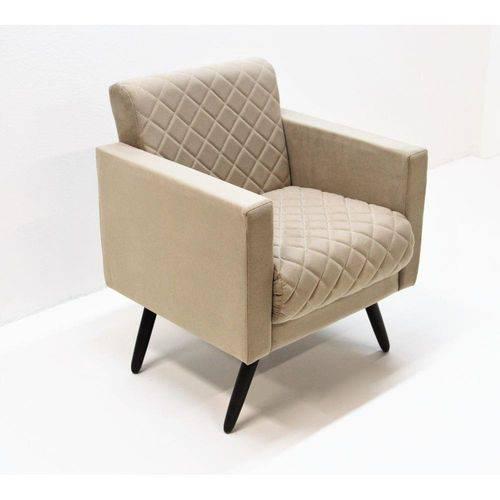 Poltrona Cadeira Decorativa Mara Sala Escritório Suede Bege