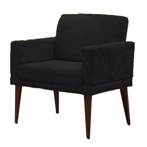 Poltrona Cadeira Decorativa Mia Escritório Suede Preto