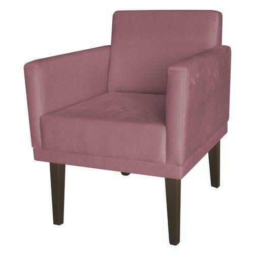 Poltrona Cadeira Decorativa Mia Recepção Sala de Estar Escritório Suede Rosê – BC DECOR