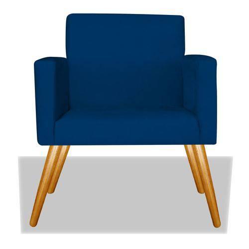 Poltrona Cadeira Decorativa Nina Recepção Sala Escritório Suede Azul Marinho – BC DECOR