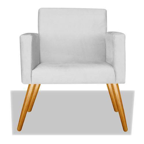 Poltrona Cadeira Decorativa Nina Recepção Sala Escritório Suede Branco – BC DECOR