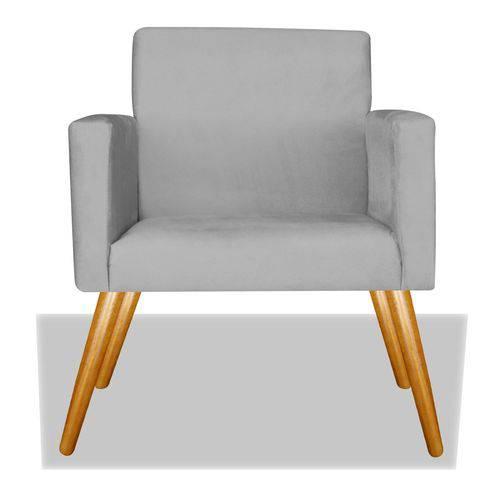 Poltrona Cadeira Decorativa Nina Recepção Sala Escritório Suede Cinza – BC DECOR