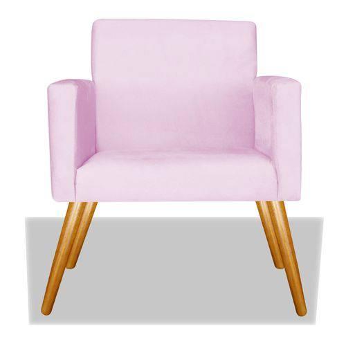Poltrona Cadeira Decorativa Nina Recepção Sala Escritório Corino Rosa Bebê – BC DECOR