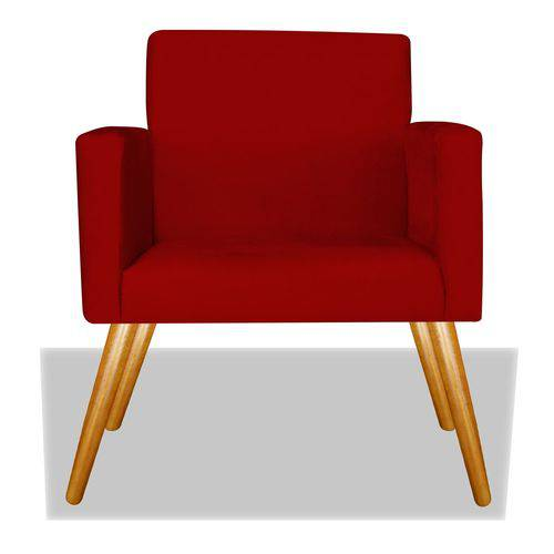 Poltrona Cadeira Decorativa Nina Recepção Sala Escritório Corino Vermelho – BC DECOR