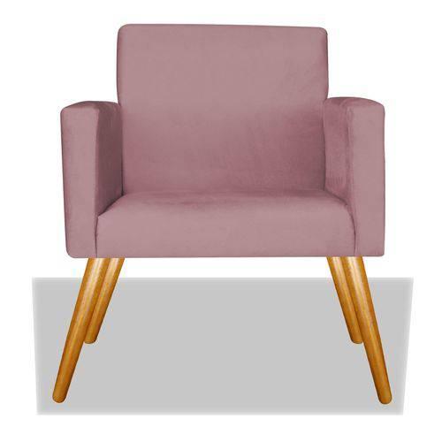 Poltrona Cadeira Decorativa Nina Recepção Sala Escritório Suede Rosê – BC DECOR