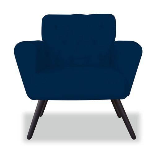 Poltrona Cadeira Eva Sala Quarto Recepção Escritório Consultório Corino Azul Marinho - AM DECOR