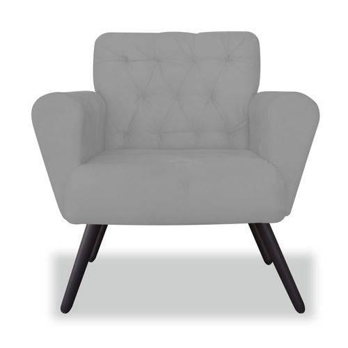 Poltrona Cadeira Eva Sala Quarto Recepção Escritório Consultório Suede Cinza - AM DECOR