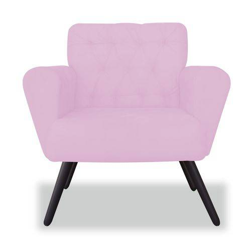 Poltrona Cadeira Eva Sala Quarto Recepção Escritório Consultório Corino Rosa Bebê - AM DECOR