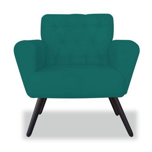 Poltrona Cadeira Eva Sala Quarto Recepção Escritório Consultório Suede Azul Turquesa - AM DECOR