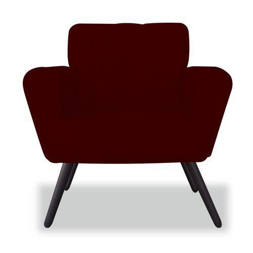 Poltrona Cadeira Eva Sala Quarto Recepção Escritório Consultório Suede Bordô - AM DECOR