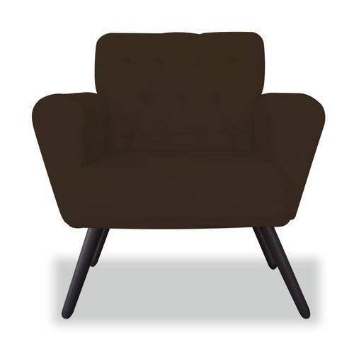 Poltrona Cadeira Eva Sala Quarto Recepção Escritório Consultório Suede Marrom - AM DECOR