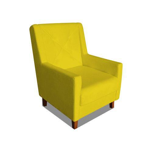 Poltrona Cadeira Mari Sala Quarto Recepção Escritório Consultório Corino Amarelo - AM DECOR