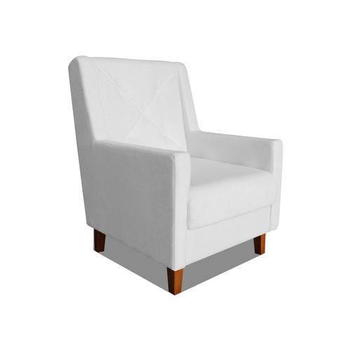 Poltrona Cadeira Mari Sala Quarto Recepção Escritório Consultório Suede Branco Neve - AM DECOR