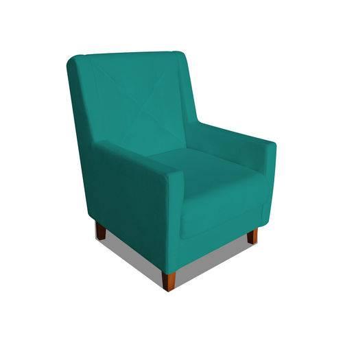 Poltrona Cadeira Mari Sala Quarto Recepção Escritório Consultório Suede Azul Turquesa - AM DECOR